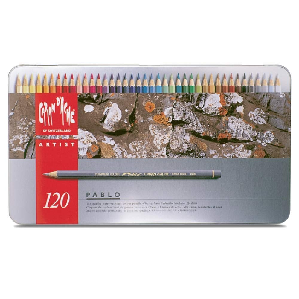 Caran d'Ache Pablo Colored Pencil Set Of 120 Metal Box (666.420) by Creative Art Materials