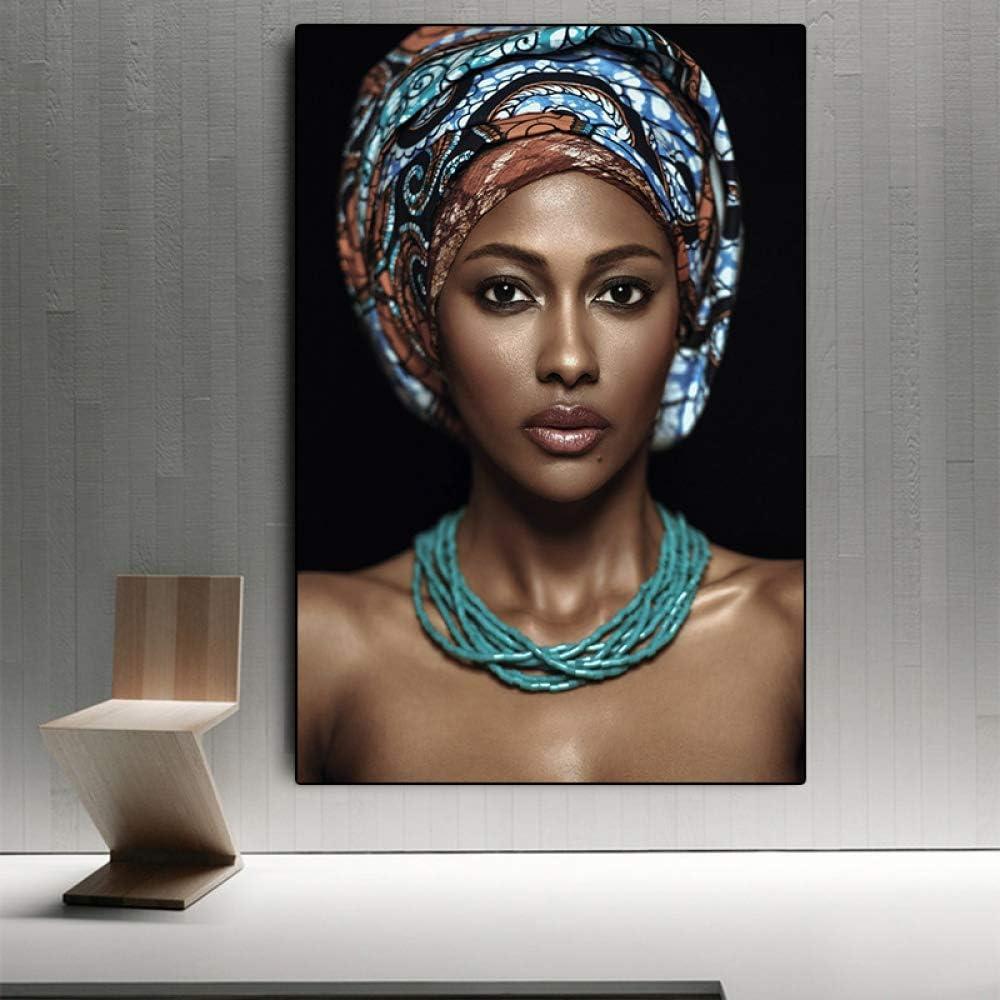IHlXH African Woman Indian Headband Retrato Lienzo Pintura Carteles e Impresiones Scandinavian Wall Art Picture for Living Room A2 50x70 sin Marco