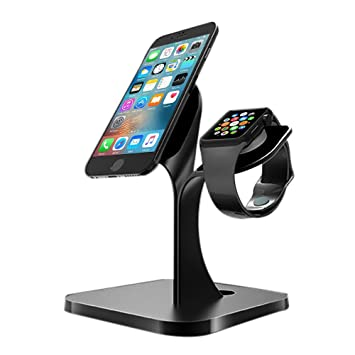 Pawaca Apple Watch Stand, 2 en 1 Apple Watch Stand IPhone Cargador Dock Aluminio Stand para Apple IPhone 7/6s/6s Plus/6/6 Plus/5s/5/SE y Apple Watch