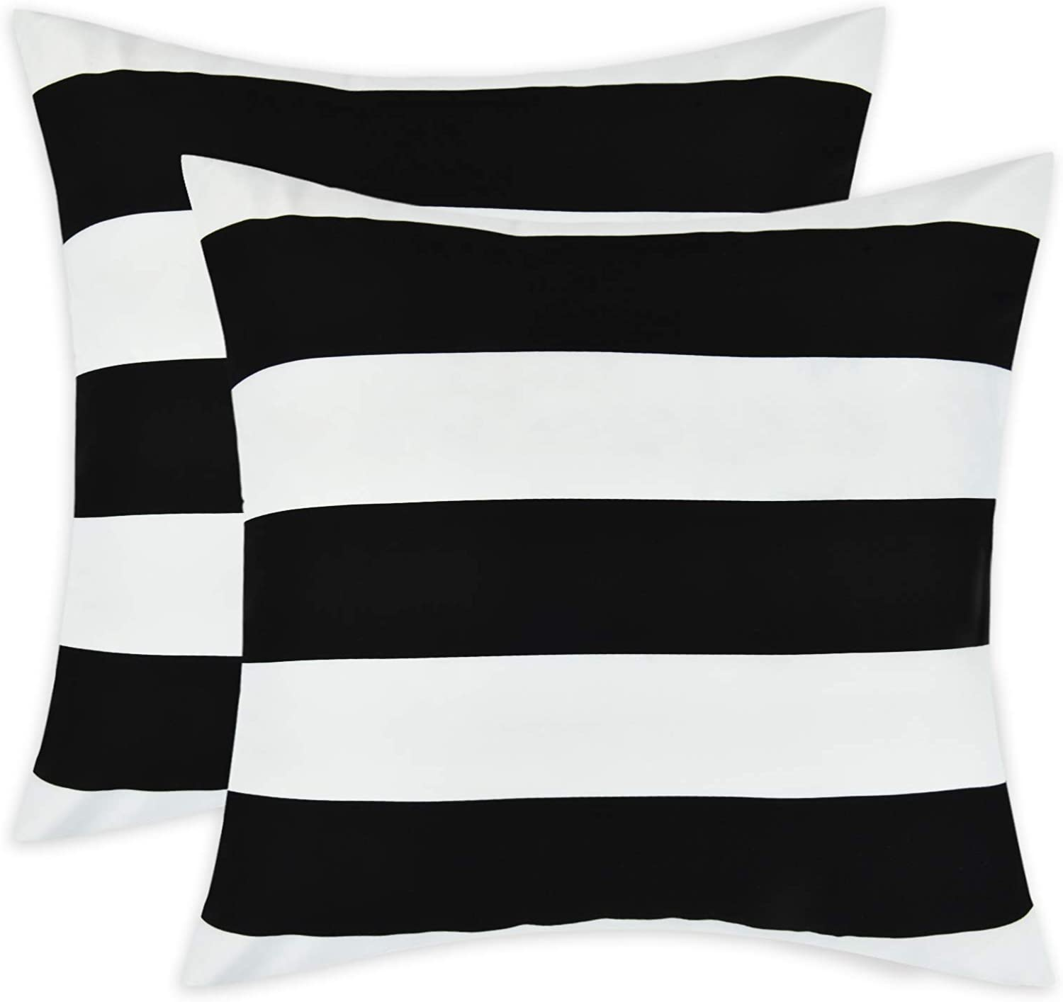 Set of 2 Decorative Pillow Covers Square Stripe Pillow Covers Modern Farmhouse Cushion Case with Hidden Zipper Home Decor for Living Room Patio Sofa Couch Chair 18 x 18 Inch, Black