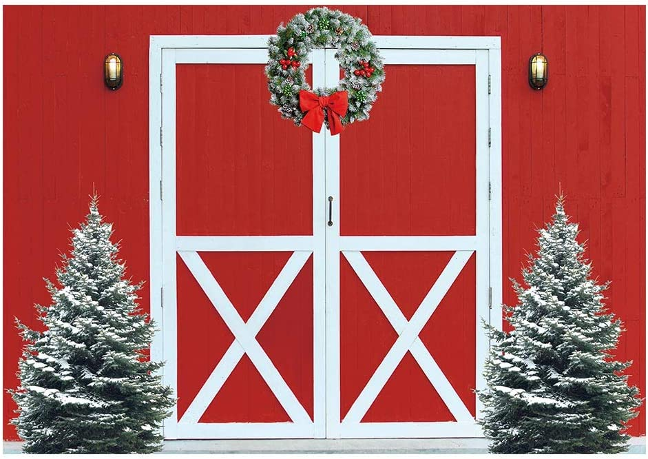 Funnytree 7x5ft Winter Christmas Red Barn Door Photography Backdrop Merry Xmas Tree Rustic Farm Wooden Wall Background Baby Shower Kids Birthday Portrait Party Decor Banner Photo Booth Studio Props