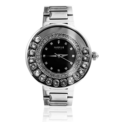 Matashi Crystals 18K White Gold Plated Womens Black Face Watch Surrounded by Swiveling Crystals; Water