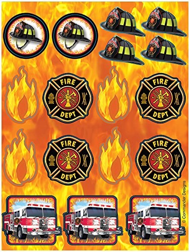 Creative Converting 2 Count Fire Watch Sheets of Foil Stickers, Black/Orange ()