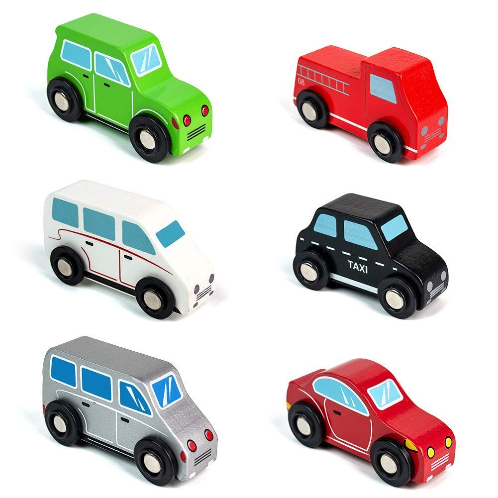 jerryvon Macchinina in Legno Auto Giochi Bambini Giocattolo Veicoli Colorata Mini Car Toy Automobili Regalo 3 4 5 Anni