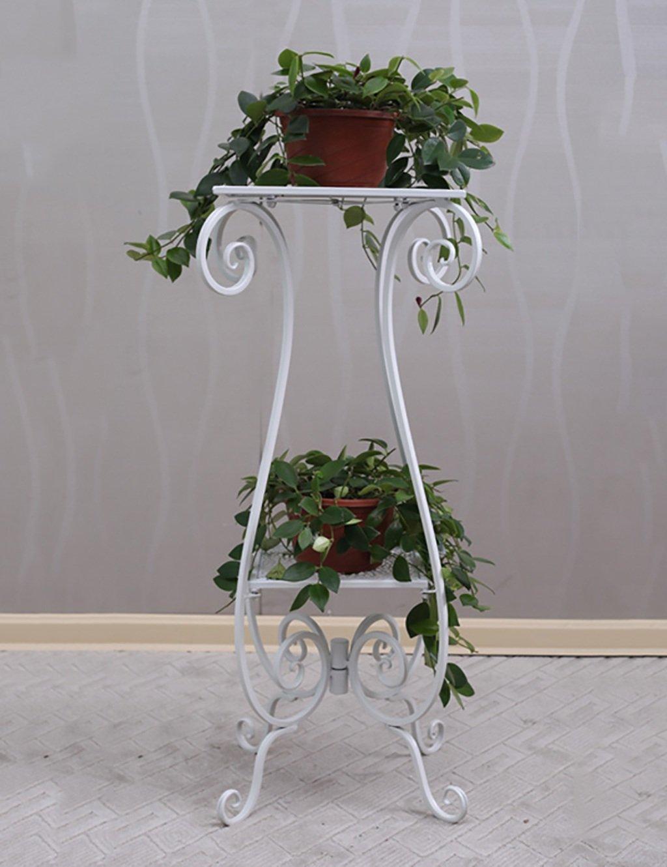 GAOCHAOXIANGHJ Blumentopf Regal Eisen Bodenart 2-Schicht Blumenregal europäischer Stil Innen- draussen Einfach Bonsai steht