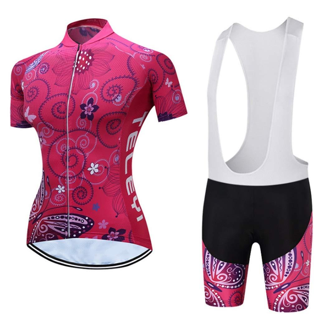 Pantaloncini da Ciclista da Donna Set Manica Corta Set da Mountain Bike da Donna Abbigliamento da Equitazione Felpa da Bicicletta Color : 2, Size : S