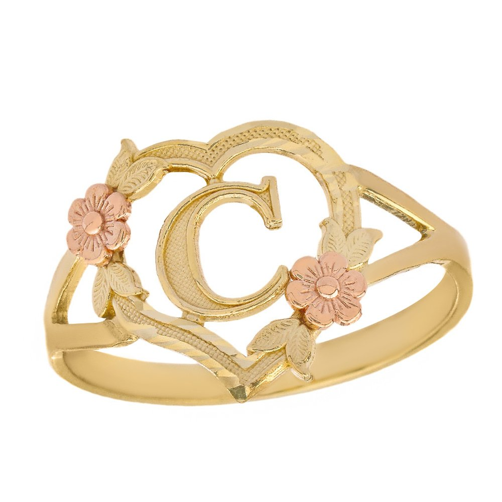 CaliRoseJewelry 10k Two-Tone Initial Alphabet Personalized Heart Ring in Yellow and Rose Gold (Size 6.25) - Letter C