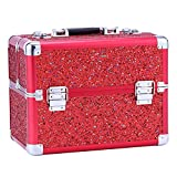 Usikey Makeup Train Case Professional Adjustable Makeup Box Cosmetic Bag Beauty Box Artist Makeup Train Case With Lock, Red