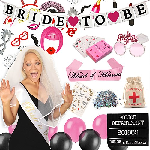 Miradical Complete Bachelorette Party Decorations Kit | Bachelorette Bride Sash, 'Bride to Be' Banner, Maid of Honour Sash, Veil/Comb, Bride Tribe Tattoos, Photo Booth Props, Mugshot and More ()