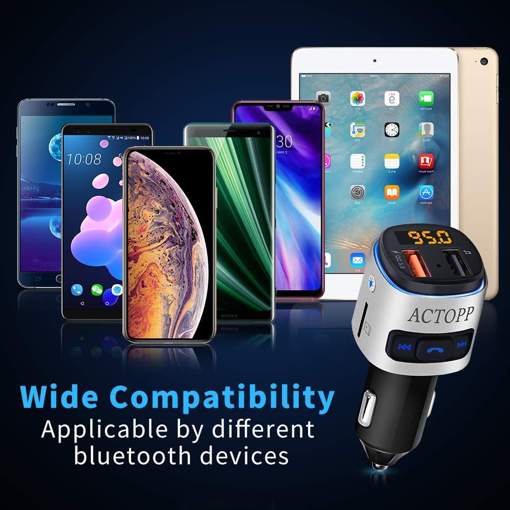 ACTOPP FM Bluetooth Transmitter f/ür Auto QC3.0 Schnellladeger/ät mit 2 USB Ports Farbwechsel Licht drahtloser FM Radio Transmitter KFZ Radio Adapter mit Freisprecheinrichtung iOS und Android Ger/äte