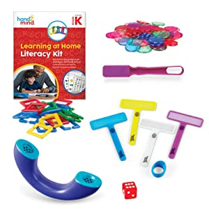 hand2mind Learning at Home Family Engagement Literacy Kit for Kindergarten, Reading Activity Book with Hands-On Manipulatives, Spanish Translations for Key Materials