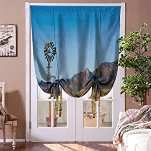 Blackout Shades Windmill Blackout Roman Shades Flinders Ranges South Australia Mountains Barren Land Summer Home Fashion Window Treatment Earth Yellow and Pale Blue Rod Pocket Panel, 48