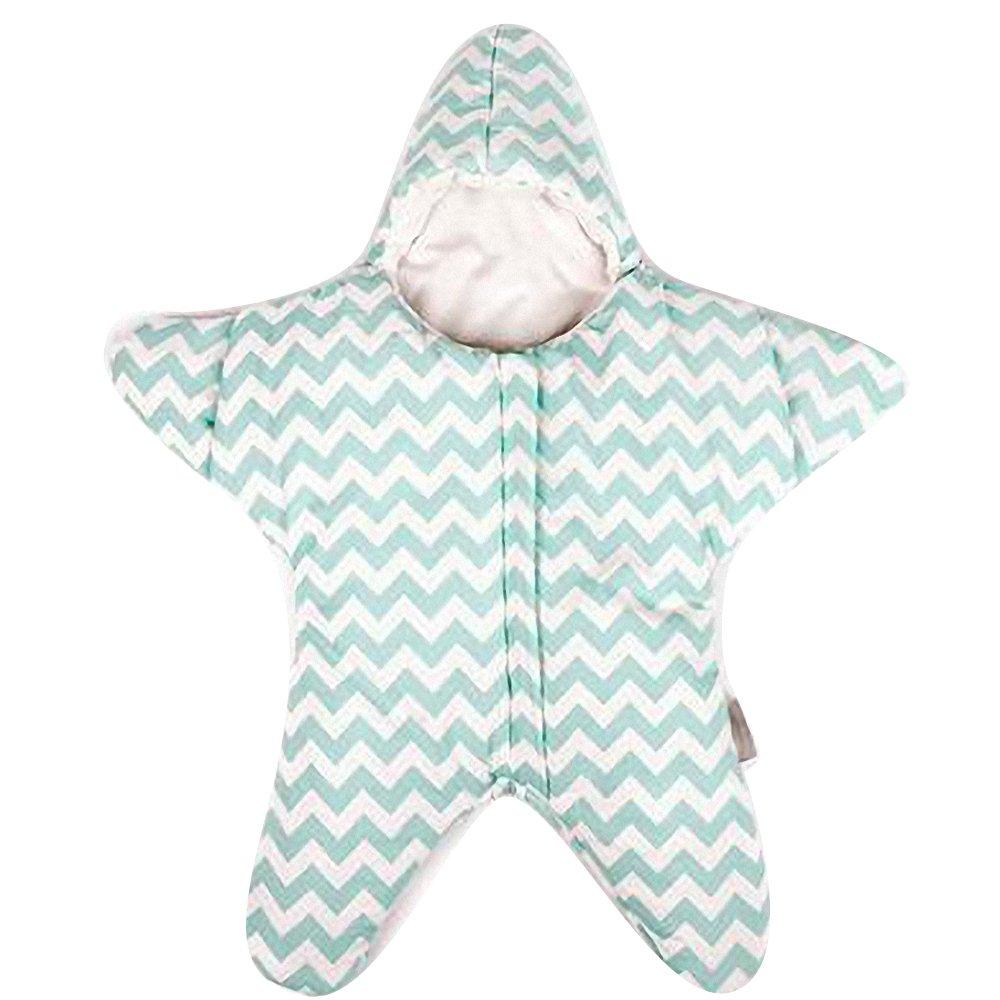 baby winterschlafsack jungen kinder winter schlafanzug langarm neugeborenes kind Baumwolle Starfish 0-12 Monat 。Größe: 80CM*80CM, (grün) (grün) Happy Dream