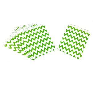 AKOAK 50 Pcs 5 x 7 Inches White and Green Ripple Striped Paper Bags,Holiday Wedding Christmas Favor Candy Treat Bags