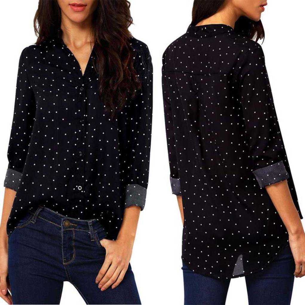 Youngh 2018 New Womens Blouses Shirts Woemn Polka Dot Shirts Casual Fashion Blouses Long Sleeve V neck Tops Chiffon Blouses For Ladies: Amazon.com: Grocery ...