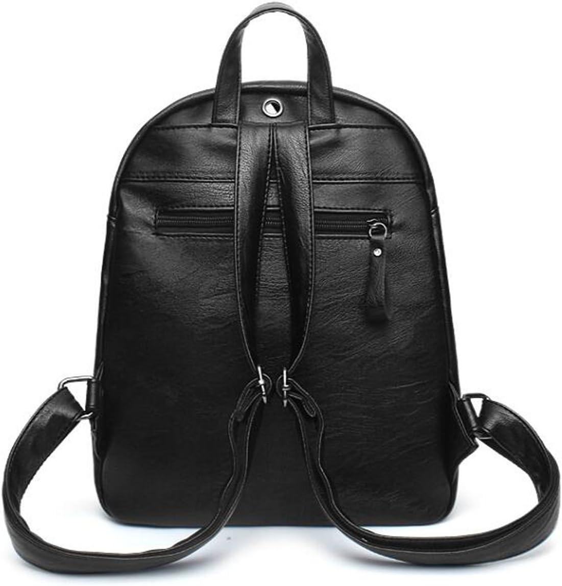 EAMIYA Girl Backpack Students Leisure Trends Fashion Travel Bags PU school Bag,Black