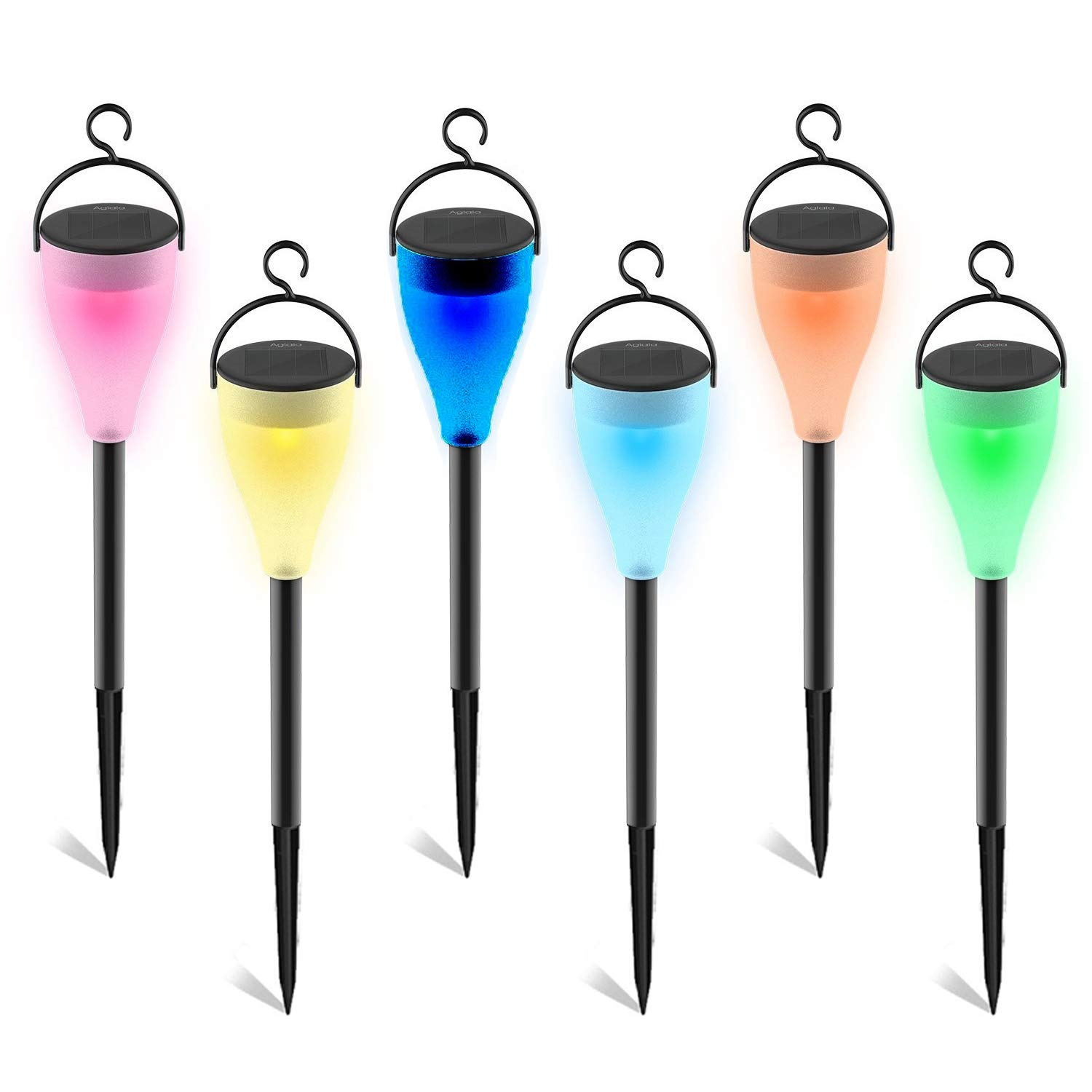 Solar LED Lights Outdoor Decorative 7 Color Changing Pathway Lights 6 Pack Waterproof Landscape Lighting for Garden Wedding and Holiday Decorations (Black)
