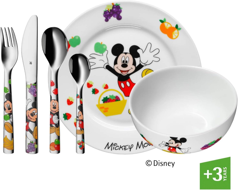 WMF Disney Mickey Mouse - Vajilla para niños 6 piezas, incluye plato, cuenco y cubertería (tenedor, cuchillo de mesa, cuchara y cuchara...