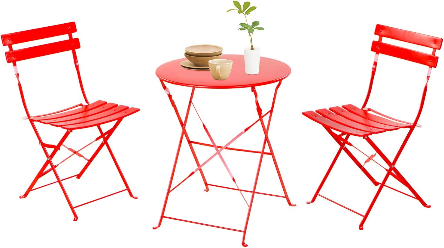 Grand Patio3 Piece Bistro Set, Weather-Resistant Folding Table and Chairs, Indoor/Outdoor Furniture Set (Red)