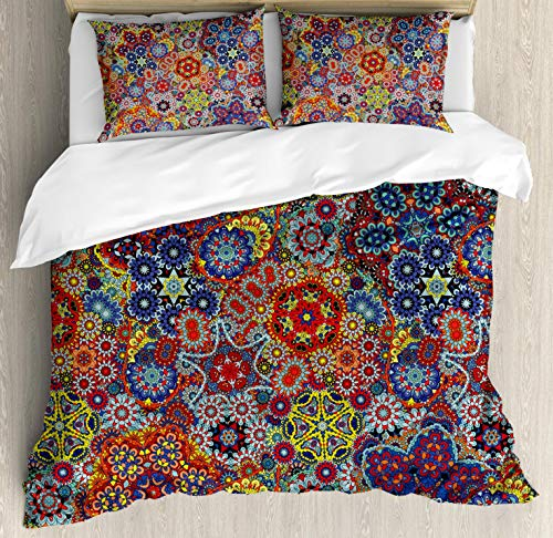 Ambesonne Batik Duvet Cover Set, Vintage Combined Nested Paisley Motif Oriental Feminine Cultural Eastern Batik Theme, Decorative 3 Piece Bedding Set with 2 Pillow Shams, Queen Size, Blue Red (Outdoor Pillows Batik)
