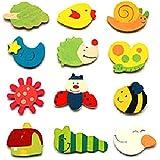 Lot de 12 aimants de réfrigérateur en bois coloré animé de motifs aléatoires)