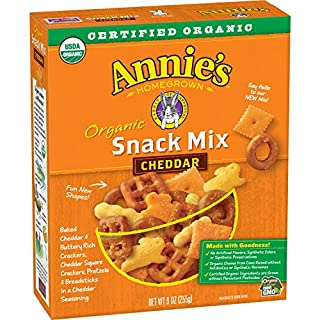 Annie's Organic, Snack Mix, Baked Cheddar Cheese Crackers and Pretzels, 9 oz. Box (Pack of 4)