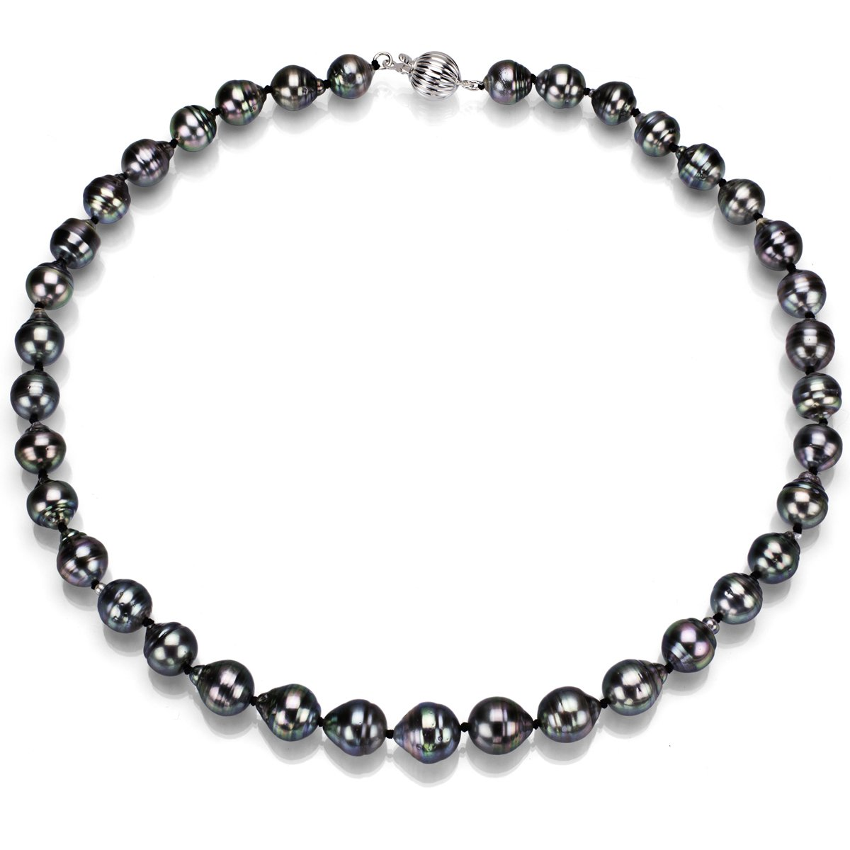Sterling Silver Black Baroque South Sea Cultured Tahitian Pearl Necklace for Women 18 inch