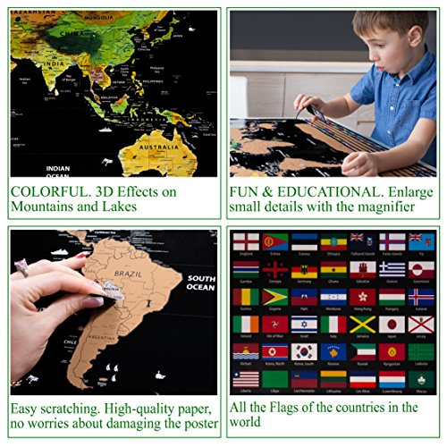Scratch off World Map Poster with US States Outlined XLarge Size 32.5 x 23.4 inch.Scratch Travel Map Includes 252 Country Flags & Vibrant Colors.Travel Gifts Comes with a Complete Scratching Tools Set Photo #7