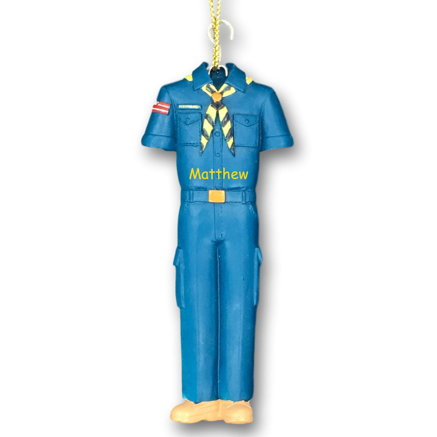 Kurt Adler Personalized Boy Scouts of America Blue Cub Scout Youth Scout or Scout Leader Uniform with Neck Slide and Badges Hanging Christmas Ornament with Custom Name