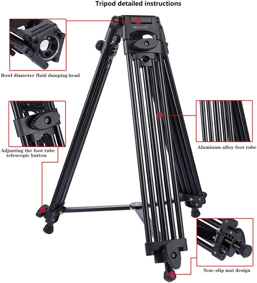 Color : Black, Size : One Size Adjustable Height 62-140cm Video Tripod System Zxcvlina-YD Heavy Duty Video Camcorder Aluminum Alloy Tripod for DSLR//SLR Camera