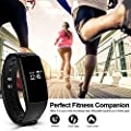 Fitness Tracker HR Monitor RIVERSONG Heart Rate Monitors Activity Smart Bracelet Sleep Monitors Pedometer Calorie Tracking Wristband Updated Version for iPhone and Android Phones (Black04)