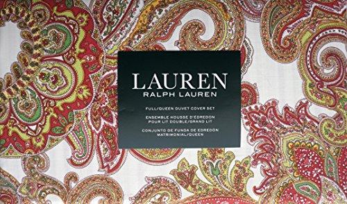 Ralph Lauren Yellow Paisley - Lauren Ralph Lauren Bedding 3 Piece Full / Queen Duvet Cover Set Red Green Orange Yellow Paisley Pattern on White