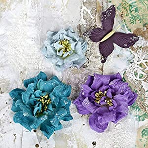 "Prima Marketing Troika Paper Flowers 1.5"" To 2.5"" 3/Pkg Plus Butterfly-Teal 83"