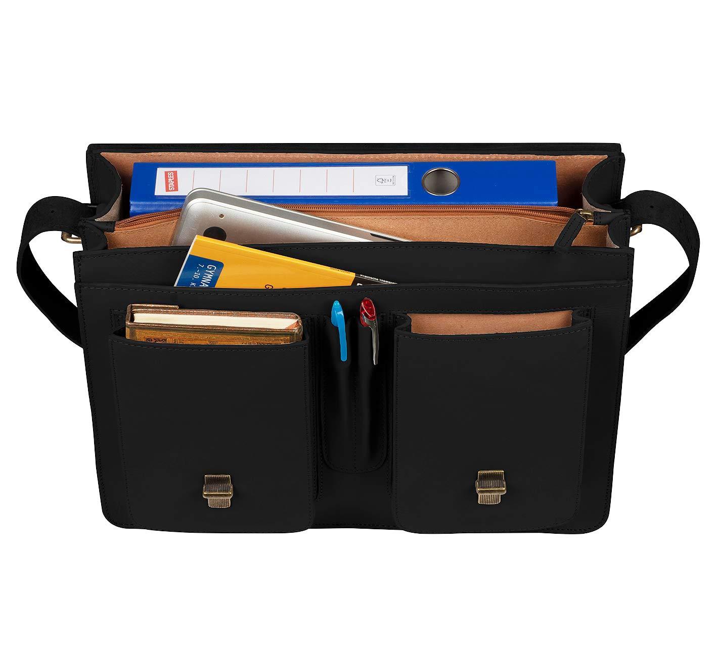 viele Innenf/ächer Black Klassische Lehrertasche /& Aktentasche aus echtem Leder Schoolmaster New Classic Umh/ängetasche f/ür Damen /& Herren
