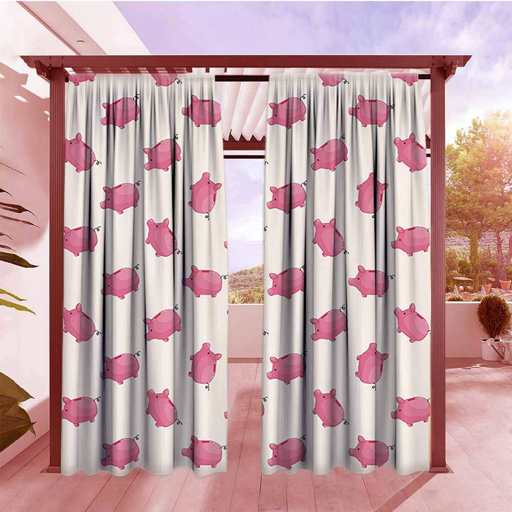 Balcony Curtains Pig Decor Collection Piggy Bank Pattern Money Wealth Luck Symbols Fun Design Artwork Waterproof Patio Door Panel W96x72L Pink and White by DGGO