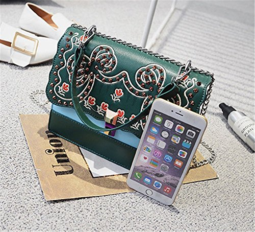 Green Messenger Handmade Colors Four Embroidery Shoulder Flower Rrock Bag Women's Bag Handbag Chain Fashion xvqOw0