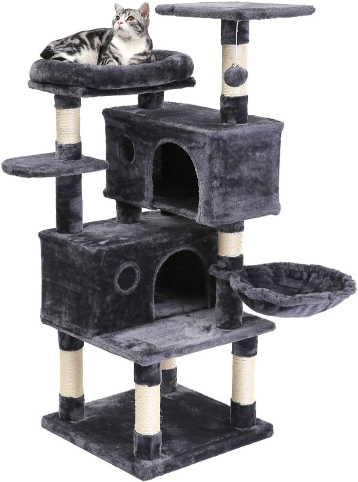 SUPERJARE Cat Tree Condo Furniture with Scratching Posts, Plush Cozy Perch and Dangling Balls, Multi-Level Kitten Tower