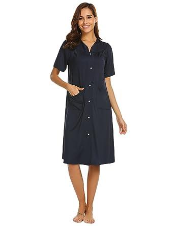 Ekouaer Front Zipper Nightgown Nightwear Short Sleeve Loungewear Women (S 64297d343