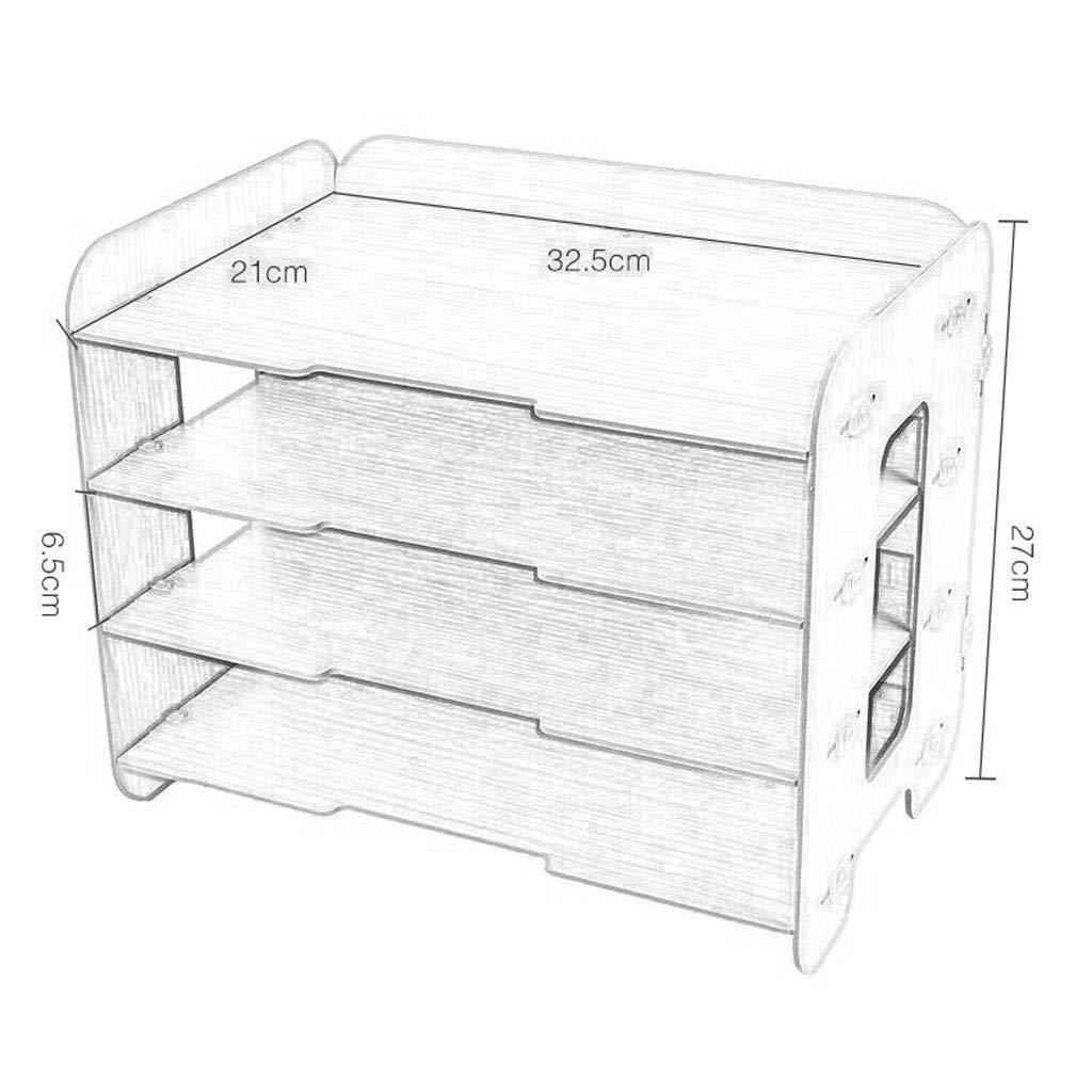 Gabinete de Archivos de Escritorio de Cuatro Capas Marco de Caja de Almacenamiento de Madera Información de la Revista Vertical 32.5cm * 21cm * 27cm MUMUJIN ...