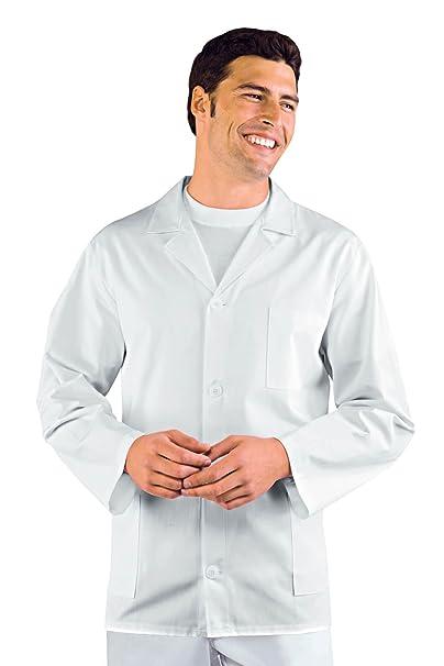 Isacco - Chaqueta médica Hombre Manga Larga Sport Color Blanco 100% algodón: Amazon.es: Ropa y accesorios