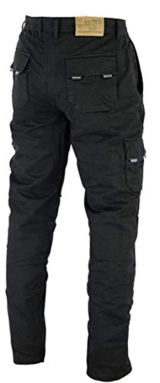 Mens Motorcycle Denim Cargo Trousers Motorbike Jeans with Protection Pads Biker Pants