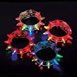 Light-up Flashing LED Spike Bracelets (2 Dozen - 24 Pcs)