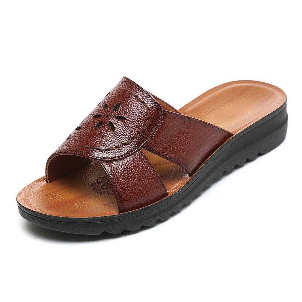 PENGFEI Verano Zapatillas Pantofola Hembra Fondo Plano Casual De Edad Mediana, Altura del Talón 3.5CM, 5 Colores (Color : Red-Brown, Tamaño : EU38/UK5.5/US7/240) EU38/UK5.5/US7/240|Red-brown