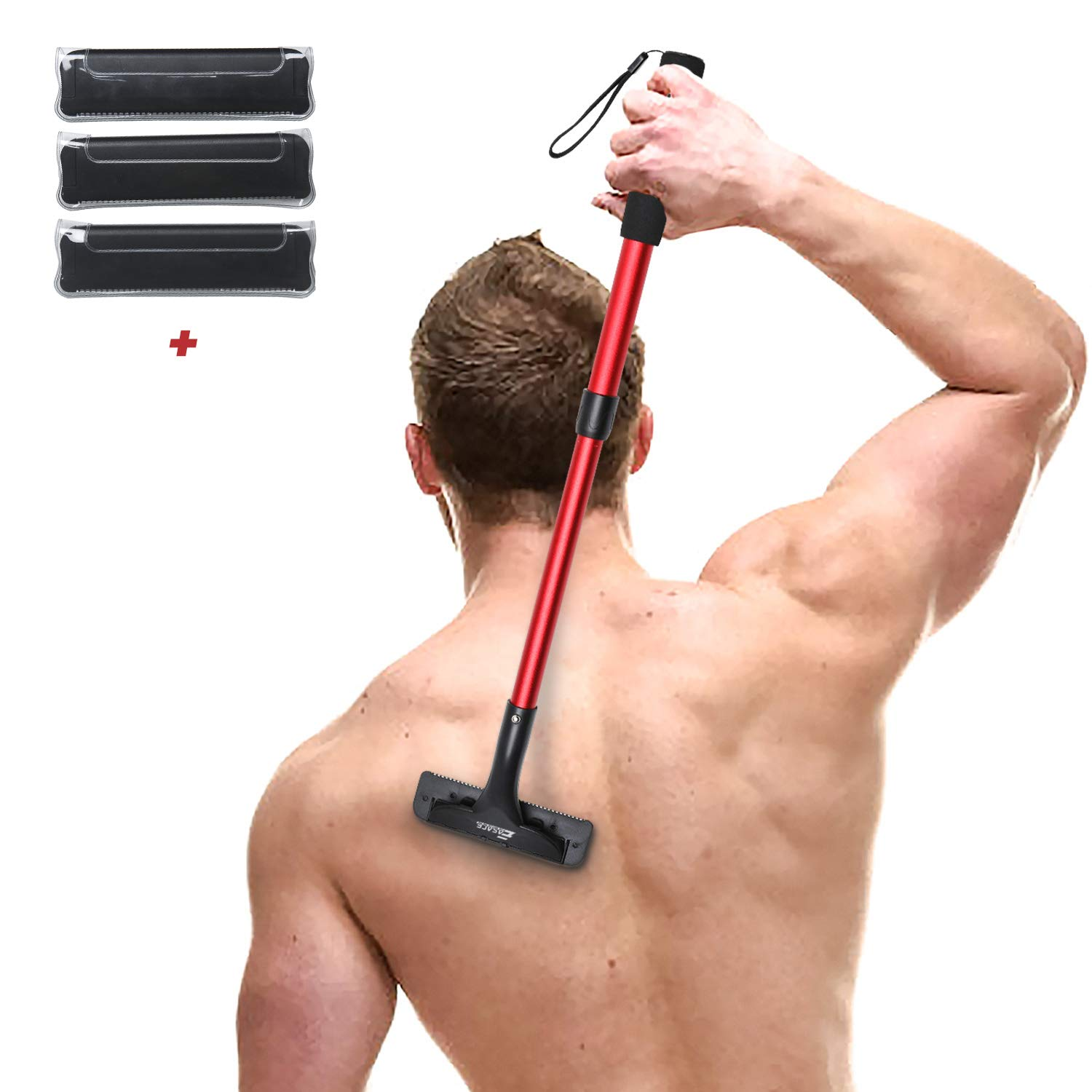 EASACE Back Hair Removal Back Groomer for Men, Body Shaver with Long Handle 21.5 Inch Adjustable, Curved DIY Pain-Free Body Shaving Trimmer with 3 Durable Refill Blade (Red)