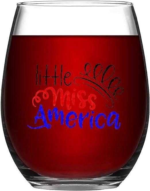 Wine Glasses Coffee,Beer,Cocktails Drinks Wine Tumbler Gift Little Miss America, American Girl, July 4th, Girl, America Wine Glass Tumbler