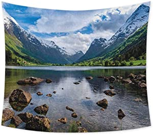 jecycleus Nature Psychedelic Tapestry Hippie Mountains River and Open Sky Natural Beauties Norway Fjords Nordic Landscape Tapastry Wall Art for Living Room W55 x L55 Inch White Green Brown