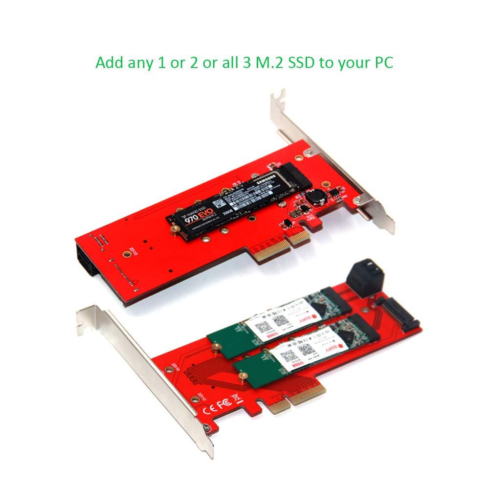 Compatible con Samsung 960 970 EVO Pro WD ADWITS M.2 Key M NVME y AHCI SSD a PCIe Adaptador 4X 8X 16x Negro