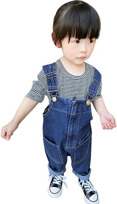 Toddler Baby Boys Girls Denim Bib Overalls Jumpsuits Pants Dungarees