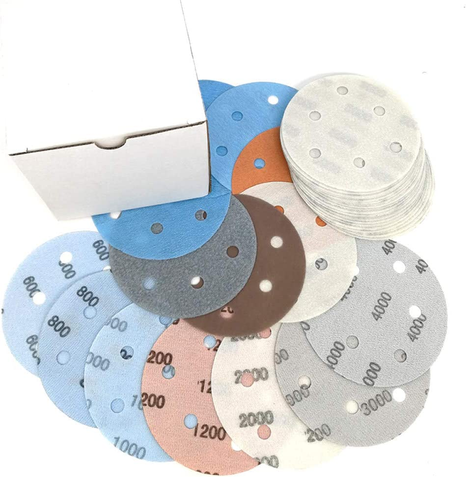 FQD/&BNM Sandpaper 10pcs 5Inch 6 Holes FV Superfine Sanding Disc Waterproof Sandpaper 600-4000 Grits for Wet or Dry Automotive Polishing,1000Grit