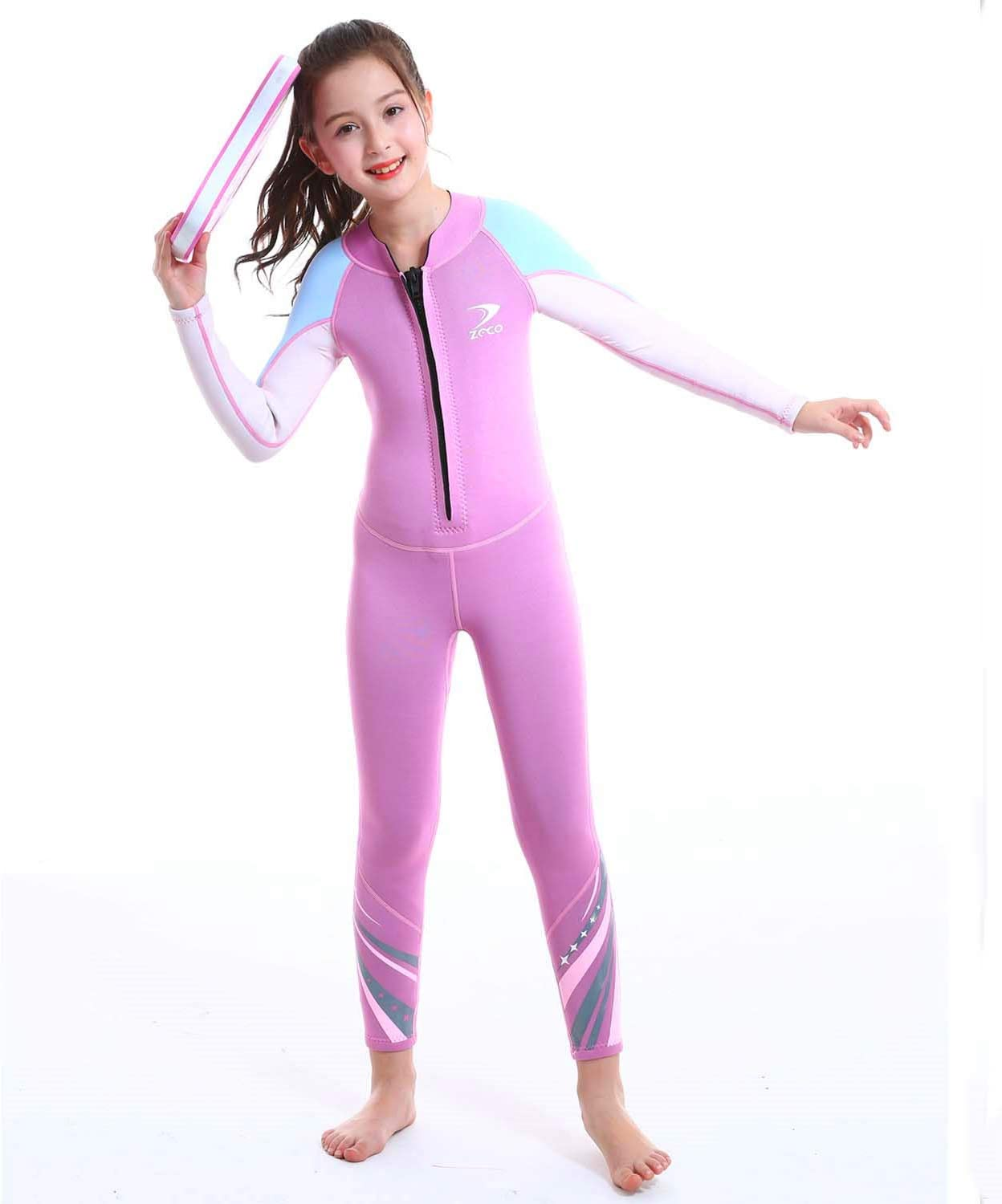 ZCCO Kids Wetsuit,3mm Neoprene Thermal Swimsuit, Youth Boy's and Girl's One Piece Wet Suits Warmth Long Sleeve Swimsuit for Diving,Swimming,Surfing etc Water Sports